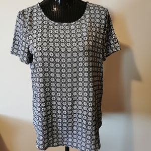 Pleione Black & White Short Sleeve Blouse